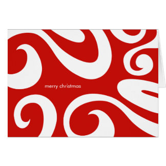 Modern Christmas Card - Red and White