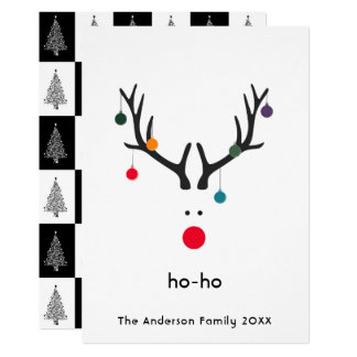 Modern Christmas card reindeer on white ho-ho