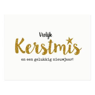 Modern Christmas card with goudkleurige sparkle