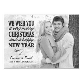 Modern Christmas Hand Lettered Full-Photo Overlay 11 Cm X 16 Cm Invitation Card