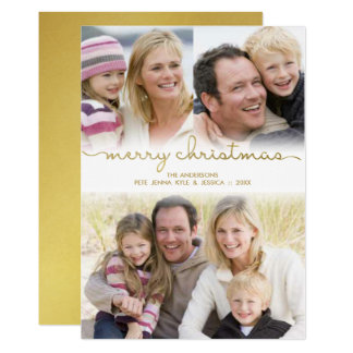Modern Christmas Hand Lettered Gold Script Photo Card