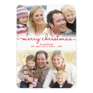 Modern Christmas Hand Lettered Script Frosty Photo Card