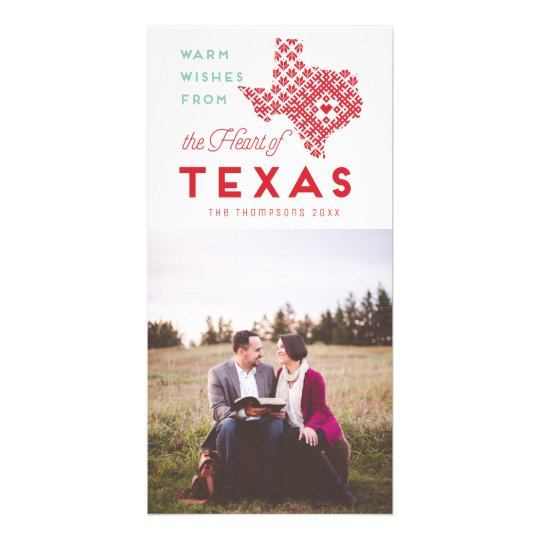 Modern Christmas Heart of Texas Photo Greeting Card
