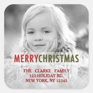 MODERN CHRISTMAS   HOLIDAY PHOTO RETURN ADDRESS SQUARE STICKER