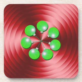 Modern Christmas Holiday Red and Green Drink Coasters