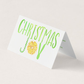 Modern Christmas JOY green candy cane lemon script Card