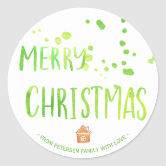 Modern Christmas JOY green candy cane lemon script Classic Round Sticker
