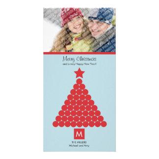 Modern Christmas Monogram Photo Card