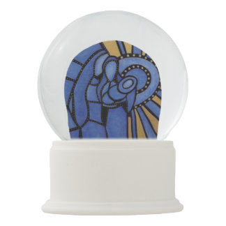 Modern Christmas Nativity Jesus Mary Joseph Blue Snow Globe