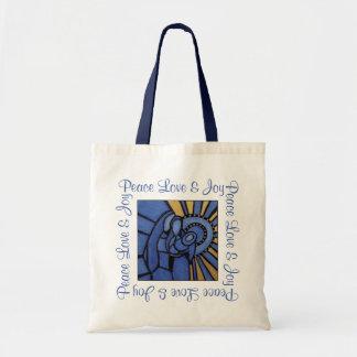 Modern Christmas Nativity Jesus Mary Joseph Blue Tote Bag