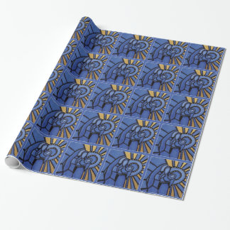 Modern Christmas Nativity Jesus Mary Joseph Blue Wrapping Paper