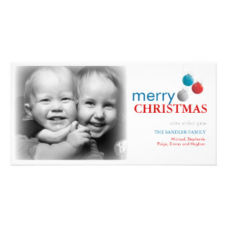 Modern Christmas Ornament Photo Greeting Personalized Photo Card