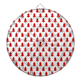 Modern Christmas Pattern Red Trees Gifts Dartboard With Darts
