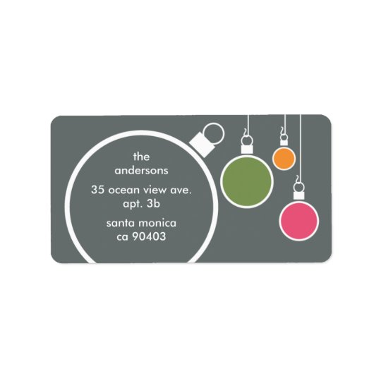 Modern Christmas Return Address Label Dark Grey