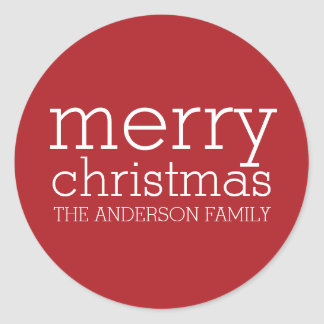 Modern Christmas - Simply Red and White Classic Round Sticker
