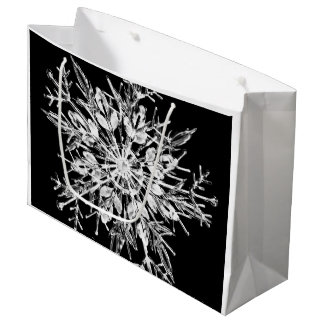 Modern Christmas Snowflake Black And White Large Gift Bag