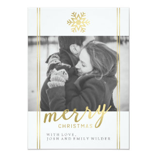 Modern Christmas Snowflake | White and Gold Card