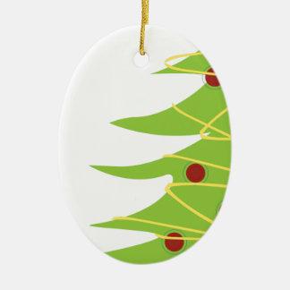 Modern Christmas Tree and Lights Ceramic Oval Decoration