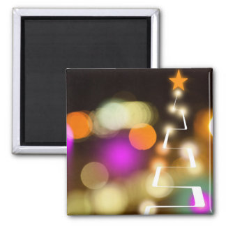Modern Christmas Tree and Lights Square Magnet