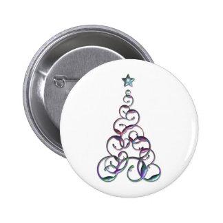 Modern Christmas Tree Art Pinback Buttons