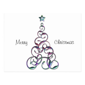 Modern Christmas Tree Art Postcard