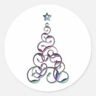 Modern Christmas Tree Art Round Sticker