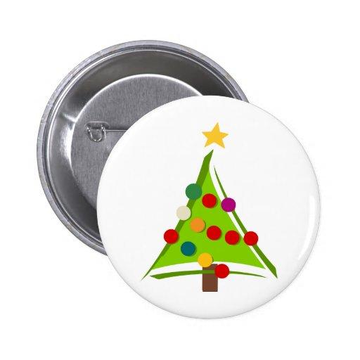 Modern Christmas Tree Design Pinback Button