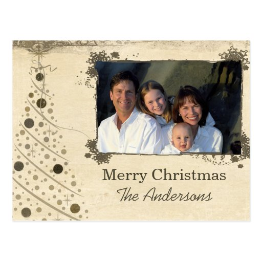 Modern Christmas Tree Family  Photo Postcard