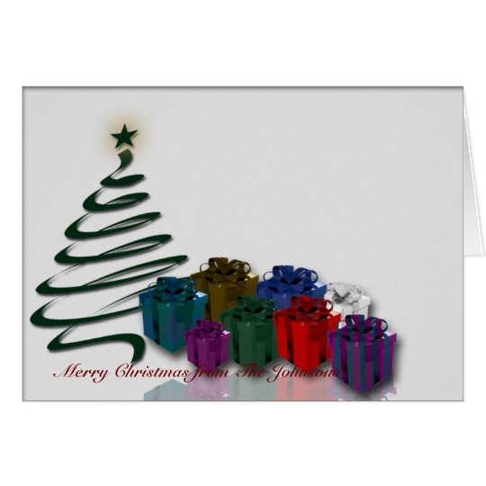 Modern Christmas Tree Graphic w/ Bright Presents Card