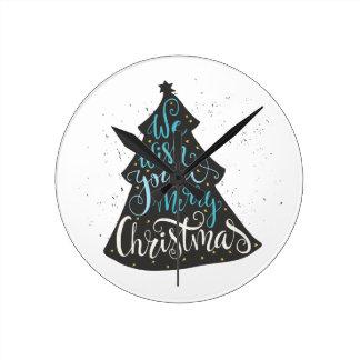 Modern Christmas Tree - Hand Lettering Print Clocks