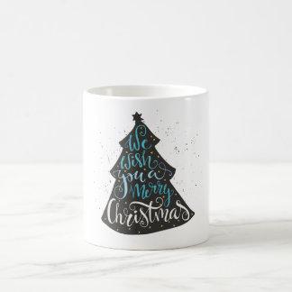 Modern Christmas Tree - Hand Lettering Print Coffee Mug