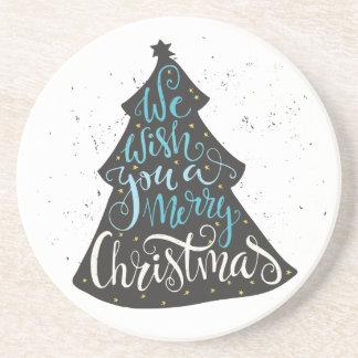Modern Christmas Tree - Hand Lettering Print Drink Coasters