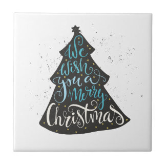 Modern Christmas Tree - Hand Lettering Print Small Square Tile