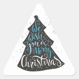 Modern Christmas Tree - Hand Lettering Print Triangle Sticker