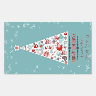 Modern Christmas Tree Happy Holidays Personalized Rectangular Sticker