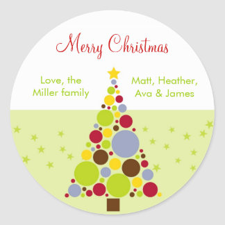 Modern Christmas Tree Holiday Gift Stickers