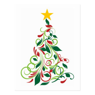 Modern Christmas tree Illustration Postcard