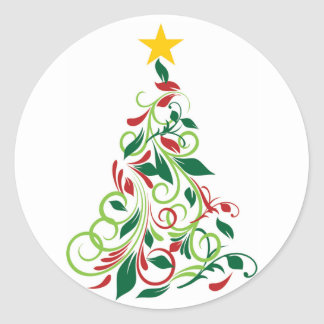 Modern Christmas tree Illustration Round Sticker