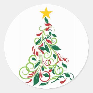 Modern Christmas tree Illustration Round Sticker