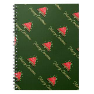 Modern Christmas tree merry christmas Spiral Note Books