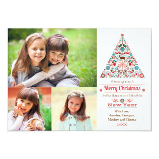 Modern Christmas Tree Multi Photo Holiday Card