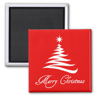 Modern Christmas Tree on Red magnet