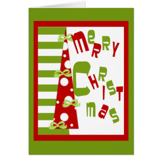 Modern Christmas Tree Red With Green Stripes Card