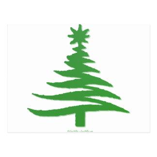 Modern Christmas Tree Stencil Print Green Postcard