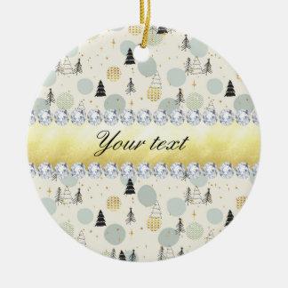 Modern Christmas Trees Snow Stars Diamonds Ceramic Ornament
