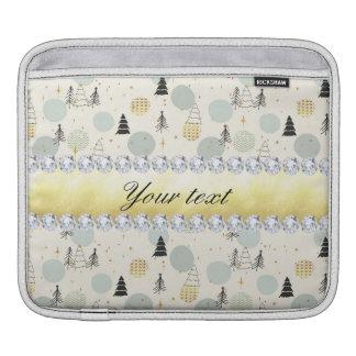 Modern Christmas Trees Snow Stars Diamonds iPad Sleeve