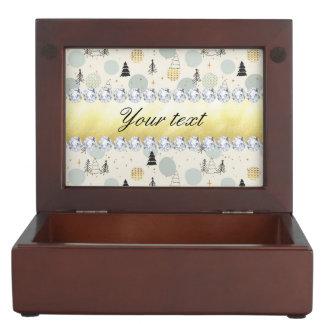 Modern Christmas Trees Snow Stars Diamonds Keepsake Box