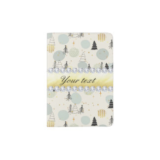 Modern Christmas Trees Snow Stars Diamonds Passport Holder