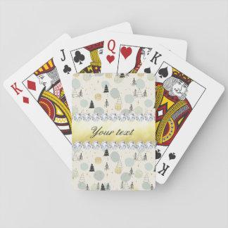 Modern Christmas Trees Snow Stars Diamonds Playing Cards