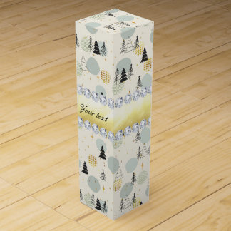 Modern Christmas Trees Snow Stars Diamonds Wine Gift Box